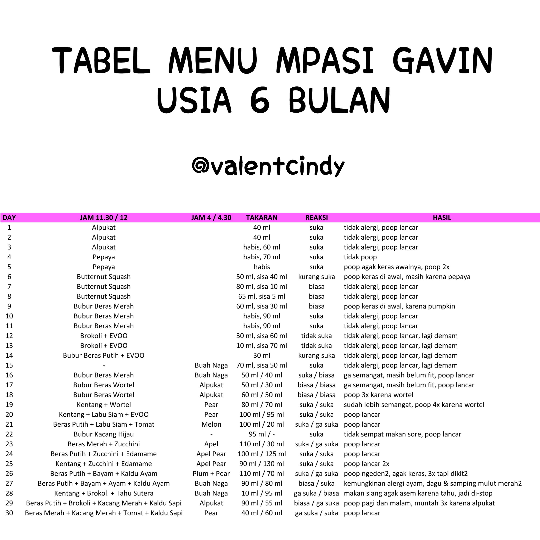Tabel Menu Mpasi Gavin 6 8 Bulan Valent Cindy